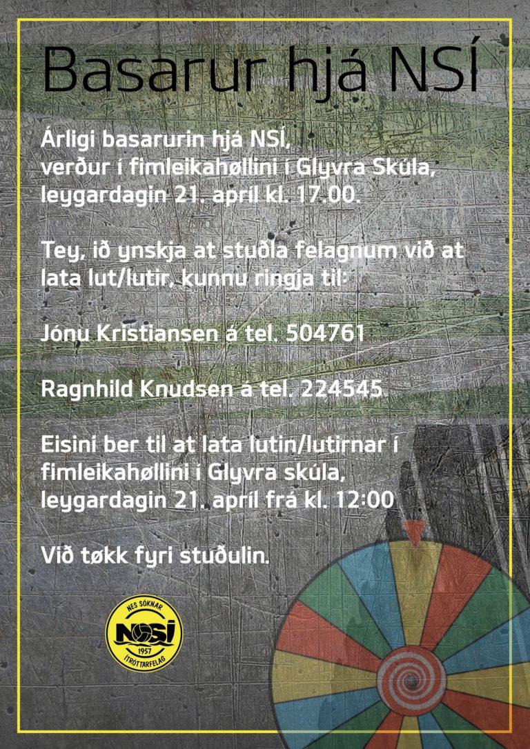 Basarur hjá NSÍ verður leygardagin 21 apríl kl 17.00
