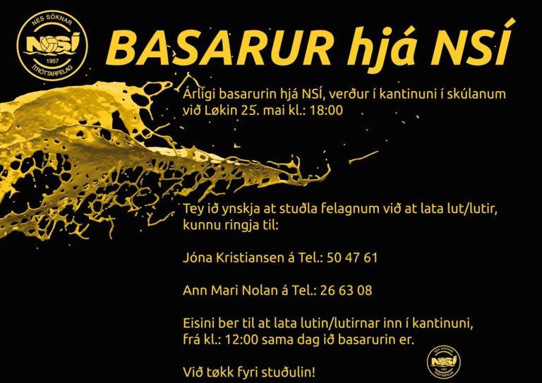 Basarurin verður leygardagin kl 18.00 í kantinuni í løkshøll