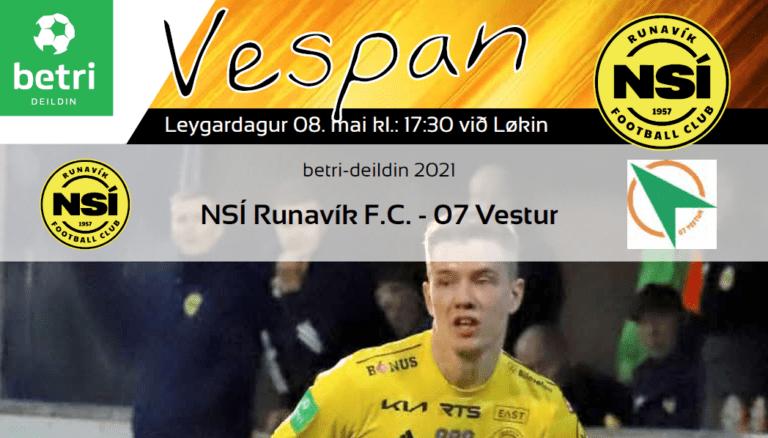 Leikskráin til dystin í dag kl. 17.30 við Løkin, NSÍ – 07 Vestur.