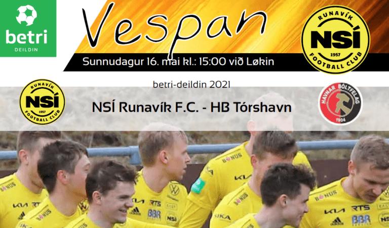 Leikskráin til dystin í dag kl. 15.00 við Løkin, NSÍ – HB.