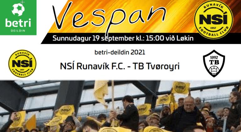 Leikskráin til dystin í dag kl. 15.00 við Løkin, NSÍ – TB