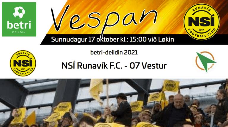 Leikskráin til dystin í dag kl. 15.00 við Løkin, NSÍ – 07 Vestur